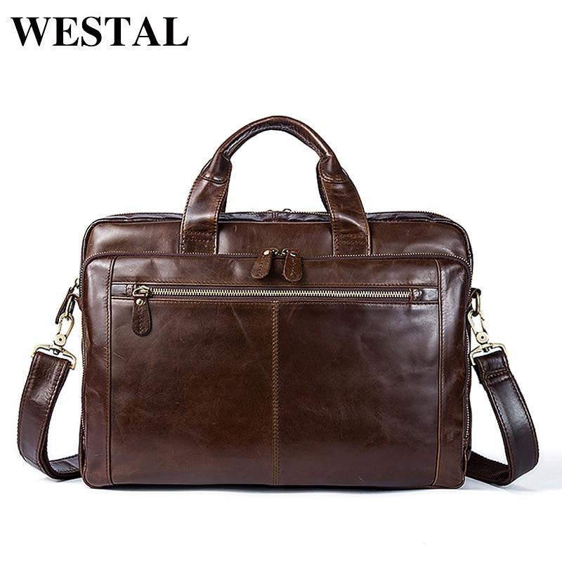 Briefcases Laptop Documents Business 9207 100%Genuine-Leather Handbags Messenger-Bag