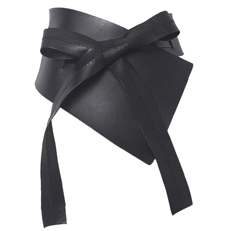 Black Super Wide Girdle Irregular Bow Tie Extra Wide Belt Women's Girdle