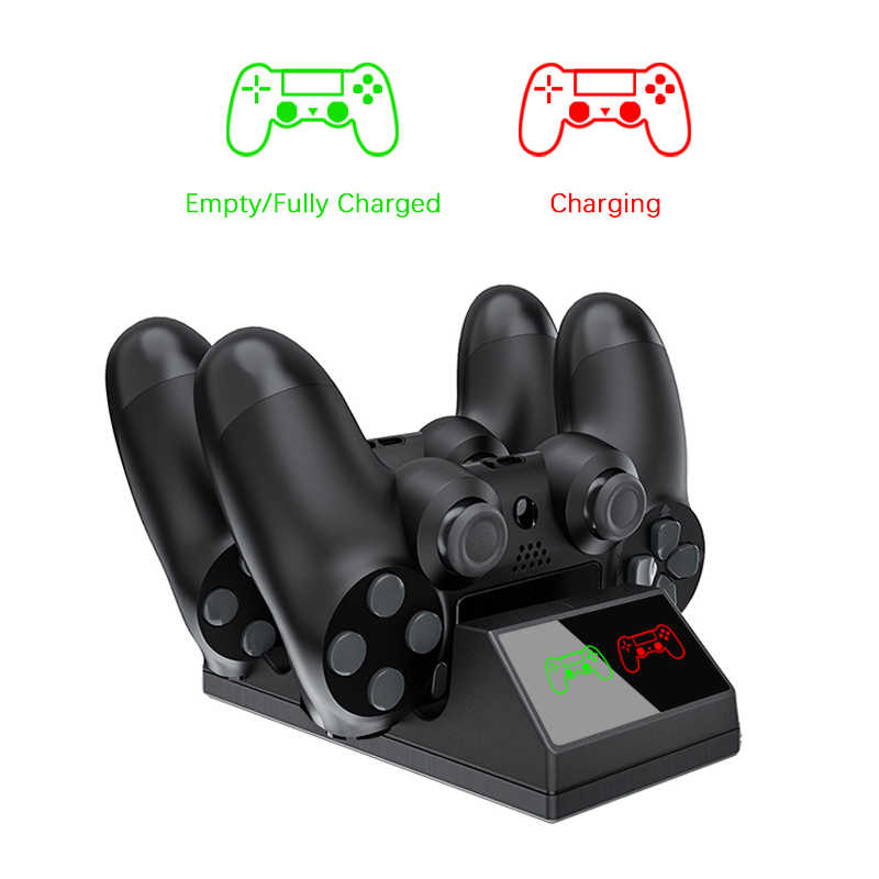 Dual PS4 Controller Pengisian Dock Station Magnet Pengisian Berdiri Dasar untuk Sony PlayStation 4 PS4 Pro/Slim Wireless Controller