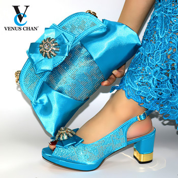 Latest Blue Color Wedding Clutch Bag Match African Women Shoes and Bag Matching Set African Shoes and Bag Match for Party