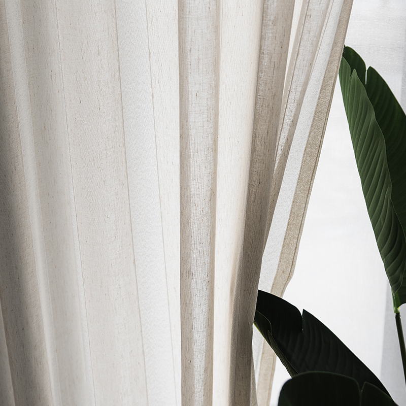 Beige Linen Stripe Sheer Tulle Curtains For Living Room Modern Curtains For Bedroom Window Voile Custom Curtains in Curtains from Home Garden