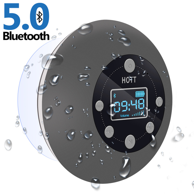Waterproof Portable Wireless Bluetooth Shower Speaker IPX7 TWS Bluetooth Speakers with FM Radio Suction Cup LED