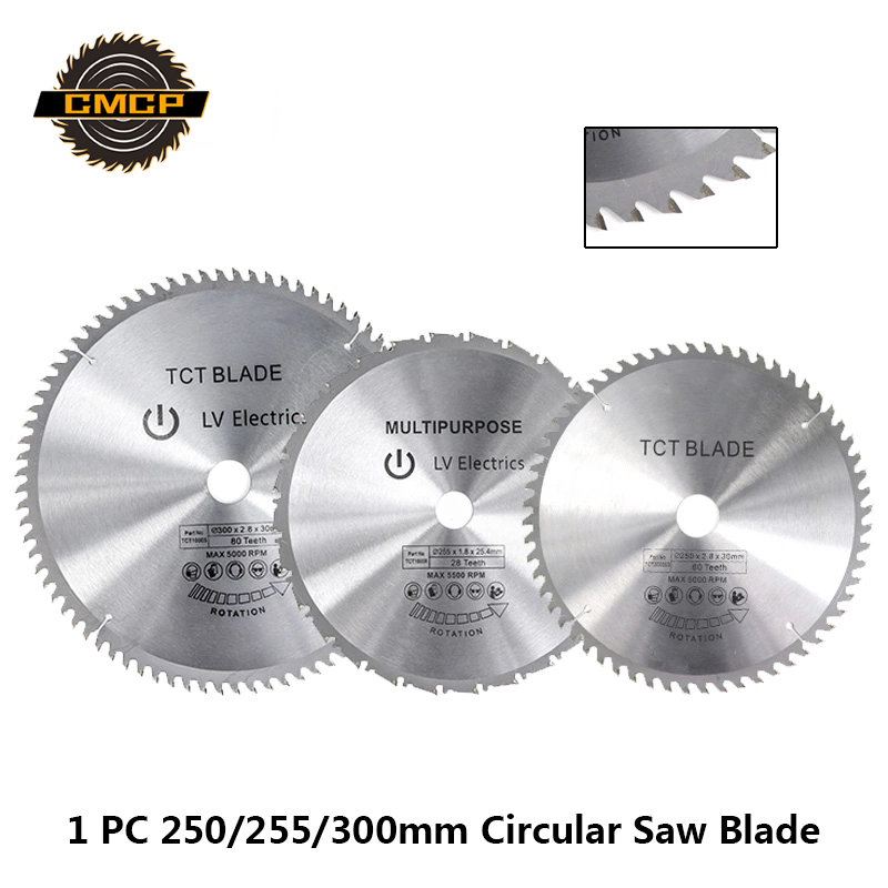 1pc 250/255/300mm Circular Saw Blade TCT Wood Saw Blade Soft Metal Woodworking Saw Cutting Disc