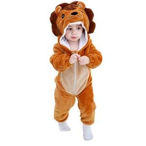 Image 5 - Детская Пижама комбинезон Kigurumis с животными, мягкая Пижама с изображением Льва, забавная одежда для сна для новорожденных, детский комбинезон, костюм для младенцев