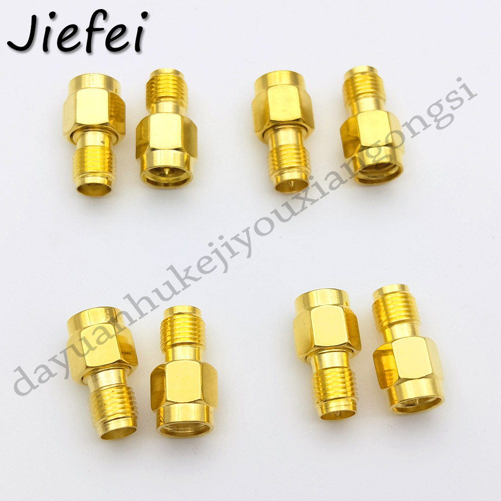 2 PCS 4 Type RF SMA Connector RP SMA Female To RP SMA Male Plug Connectors Adapter Gold Plated Straight Coaxial RF Adapters