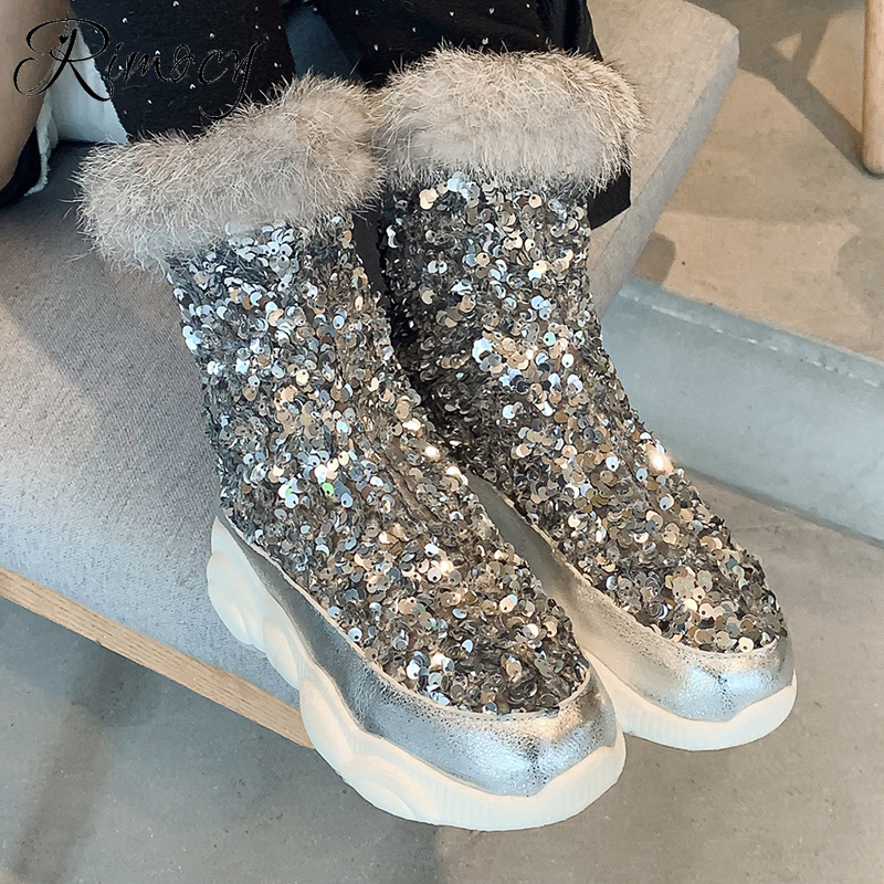 Rimocy Fashion Womens Glitter Boots