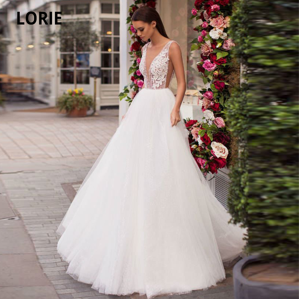 LORIE Lace Wedding Dresses Boho 2020 Ball Gown White Tulle Bridal Gowns Open Back Princess Wedding Party Gowns Plus Size