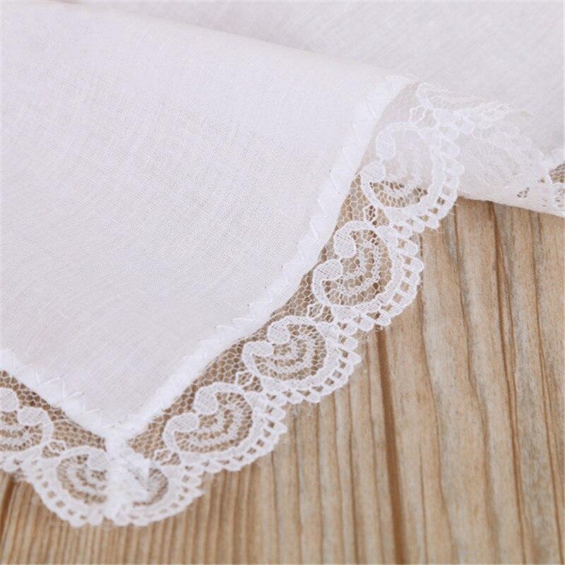 1pc White Cotton Handkerchiefs Blank Lace Hankies for Wedding, Pocket Square For Men & Women 25x25cm Fashion Handkerchie