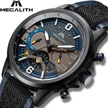 MEGALITH relojes deportivos para hombre, resistente al agua, de cuarzo con correa de Cuero militar, cronógrafo, 8083m