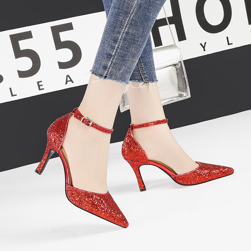 sapato feminino high heels sexy bling red sandals stiletto party women shoes shallow buckle sandales femme 2019 buty NO.55 Shoes