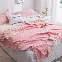 Couverture serviette douce en gaze 2021 coton, 6 couches, jeté Jacquard 100% x 200 cm, couvre-lit rose pour garçons et filles, literie de maison, nouvelle collection été 240