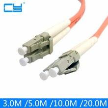 Cabo de ligação em ponte do cabo de remendo do lc da fibra milímetro duplo modo multi optica para uma rede 3 m 5 m 10 m 20 m 10ft 16ft 33ft 66ft