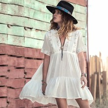2019 Women Swimsuit Cover Up Sleeve Beach Tunic Dress Robe Solid White Cotton Pareo High Collar Wea