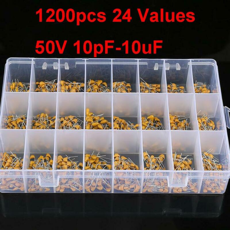 1200pcs 24 Values 10pF-10uF 50V Ceramic Capacitor Assorted Kit Assortment Set