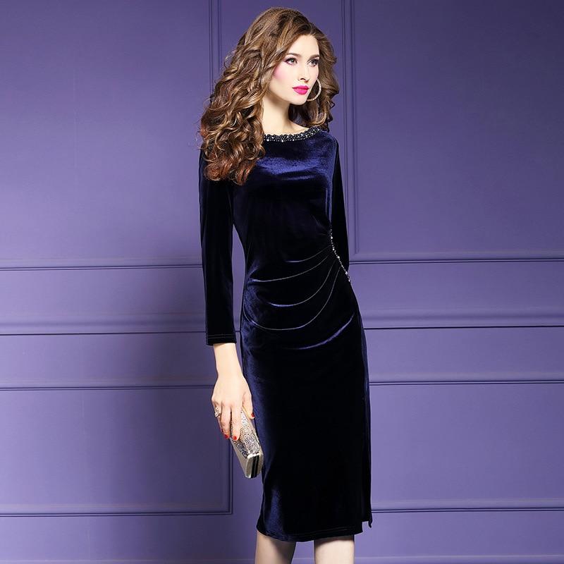 Image 2 - Retro velvet sexy dress 2019 NEW luxury spring Autumn Vintage  Nail bead Party Dress Plus Size Women Clothing winter slim  dressesDresses