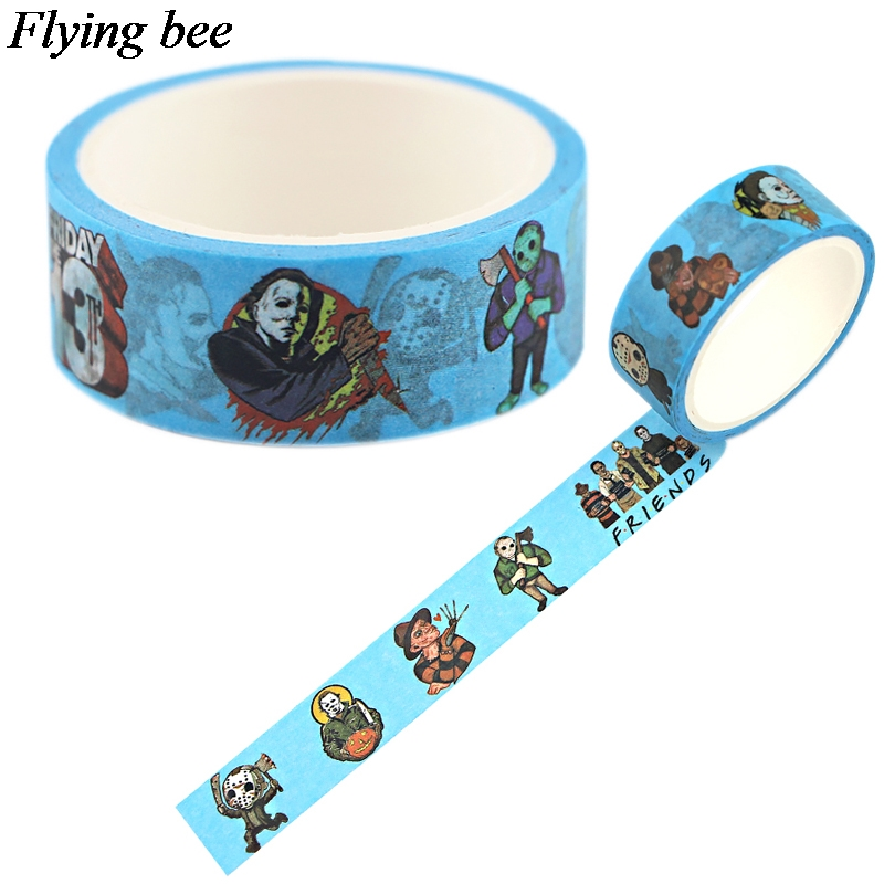 Flyingbee 15mmX5m Horror Series Adhesive Tape DIY Sticker  Paper Washi Tape X0740