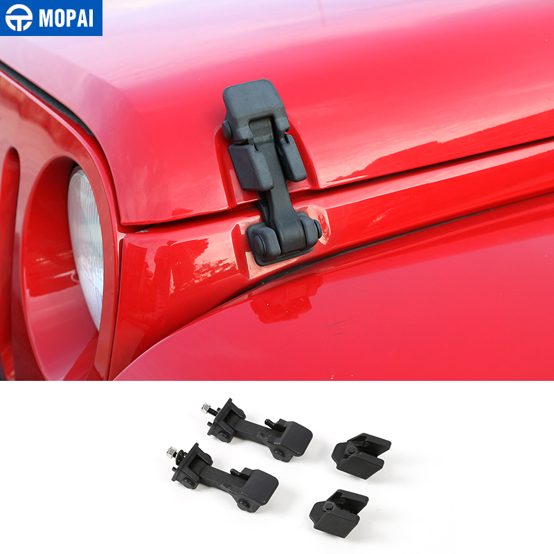 MOPAI Engine cover for Jeep Wrangler JK JL 2007-2018 Car Lock Hood Latch Catch Cover for Jeep Wrangler JK JL 2019 Accessories