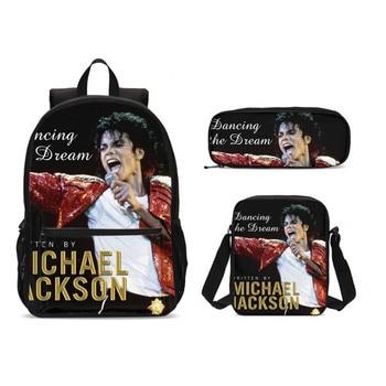 3Pcs/Set Portfolio School Bags For Boys Girls Famous Michael Jackson 3D Printing Backpacks Teenager Kids Bookbag Mochila Escolar