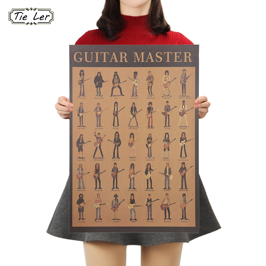 TIE LER Classic Movie Poster Cafe Bars Kitchen Decor Posters Adornment Guitar Vintage Poster Retro Wall Stickers 51x35cm