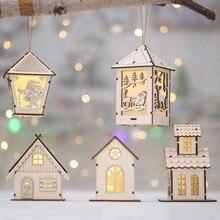 Festival LED Light Wood House Christmas Tree Hanging Ornaments Holiday Nice Xmas Gift Wedding Decoration
