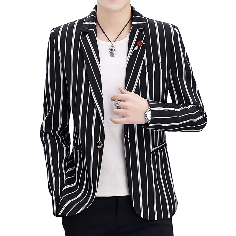 Men's Spring Black And White Stripes Slim Trend Handsome Suit Jacket / 2019 New High Quality Youth Vertical Stripes Blazer