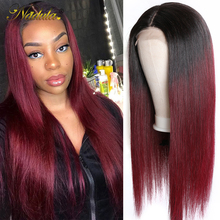 Nadula Hair 13*4 Highlight Lace Front Wigs For Women 4x4 Lace Closure Human Hair Wig Brazilian Straight Lace Wig Burgundy Wig