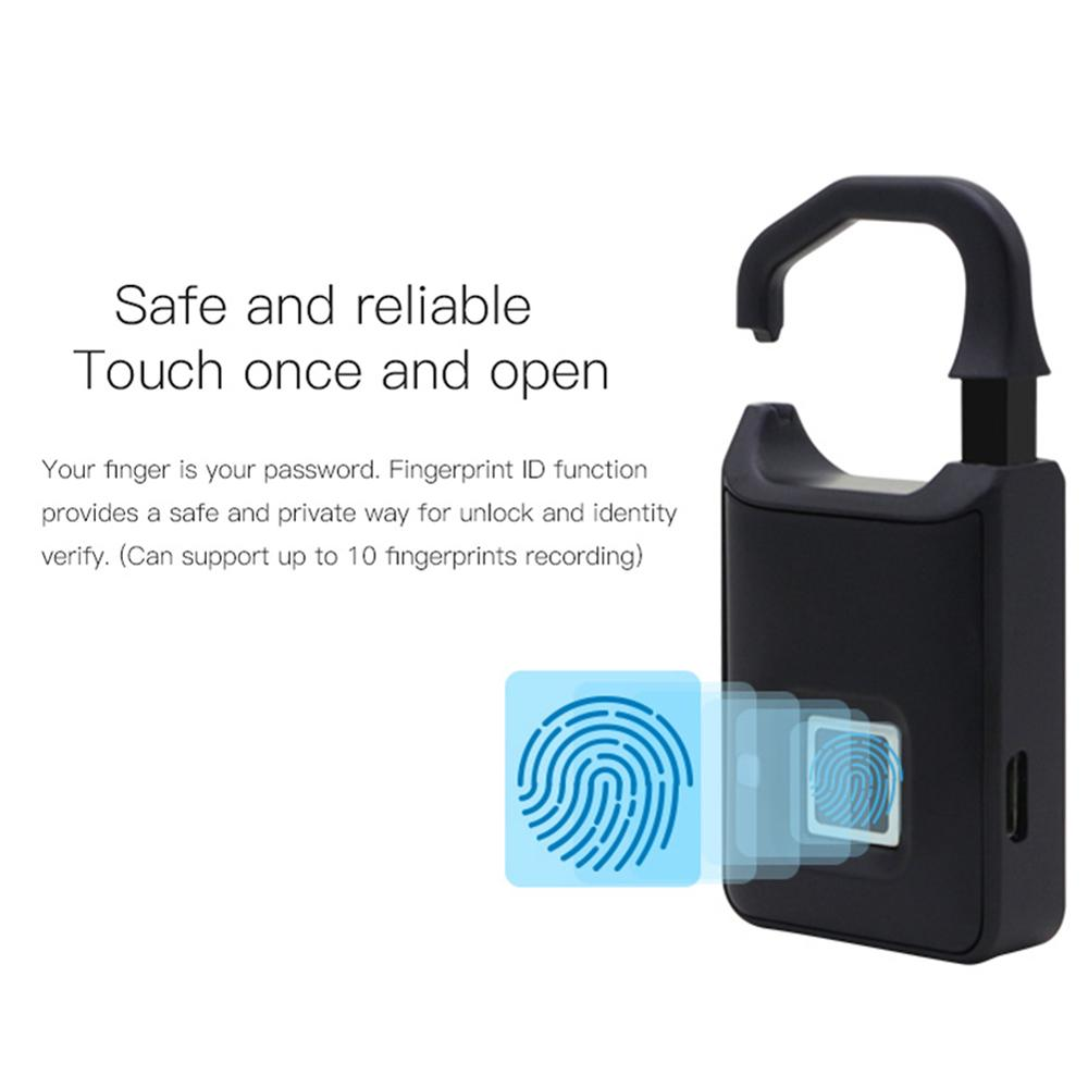 Fingerprint Lock Intelligent Lock Travel Box Warehouse Door Anti-theft Extra-long Standby Electronic Padlock 45JM13