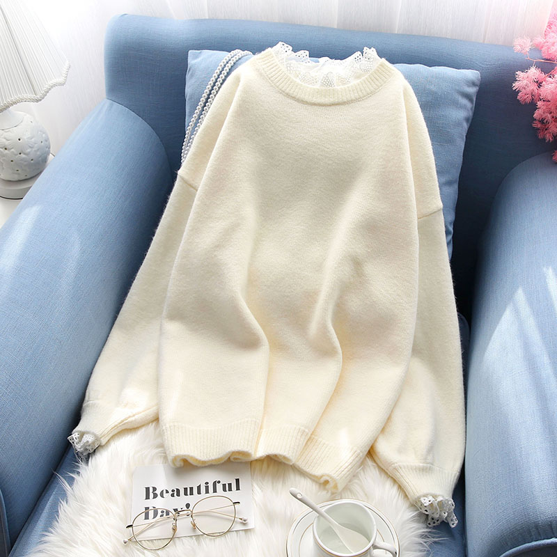 lace false two pieces women sweater knitted ruffles solid pullovers sweet lady elegant girl outwear pulls fashion tops