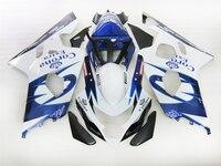 Complete Fairings kit For Suzuki K4 2004 2005 GSX R750 GSXR600 Fairing kits GSXR 600 04 05 white blue ABS motorcycle hull parts