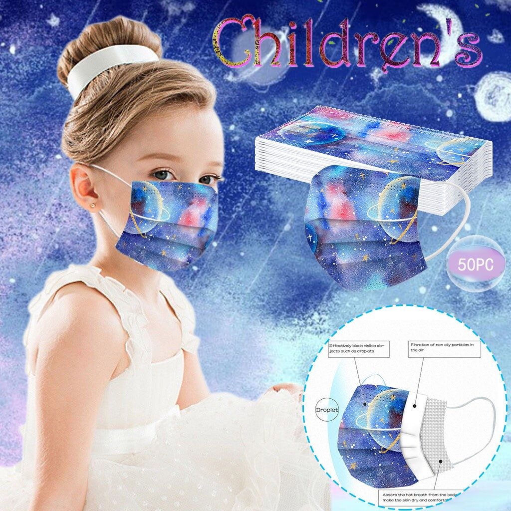 10/20 Вт, 30 Вт, 50 шт. детская маска Planet с принтом космоса леггинсы с рисунком DisposableMask для малыша п-риал 3Ply с наушным креплением защитная маска ...