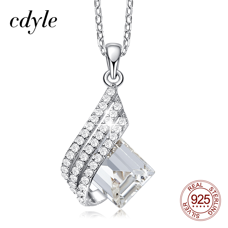 Cdyle Dainty Elegant 925 Sterling Silver Jewellery Clear Crystal Geometric Pendant Necklace Women Girl Birthday Party Gift