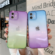Luxury Fashion Gradient Color Phone Case on For iPhone 11 12 Mini Pro XS MAX XR X 8 7 Plus SE 2020 Clear Soft TPU Cover Funda