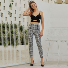 Spring 2020 Fashion Women Plaid Casual Pants Offic