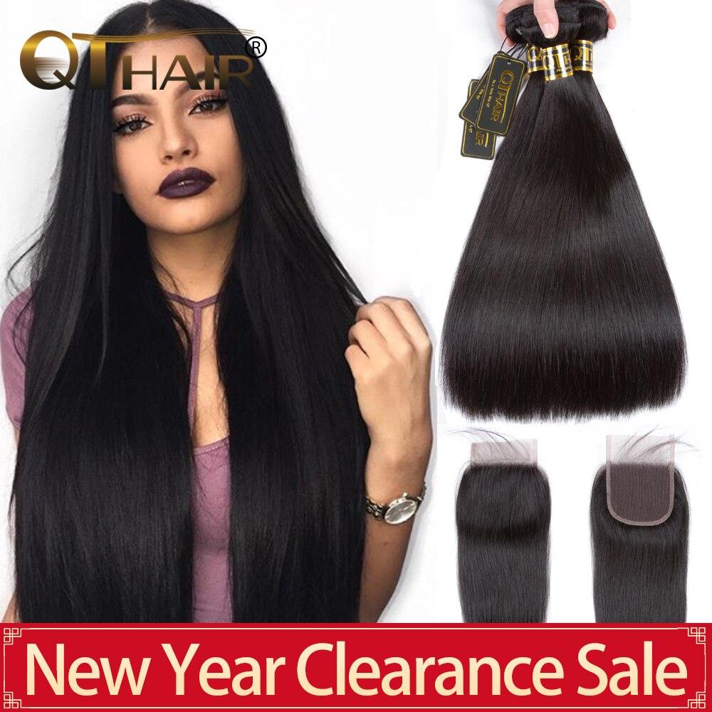 QT Hair Straight Hair Bundles With Closure Human Hair Bundles With Frontal Brazilian Remy Hair Weave Bundles With Closure