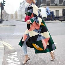 Autumn Winter Trench Coat Fashion Geometric Print Color Coat Female Casual Long