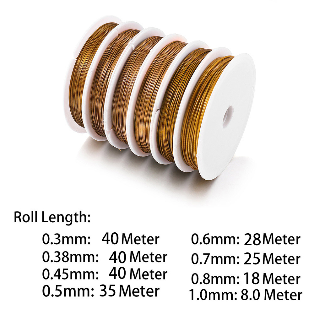 1Roll/lot Gold Resistant Strong Line Stainless Steel Wire 0.3/0.45/0.5/0.6mm Tiger Tail Beading Wire For Jewelry Making Supplies