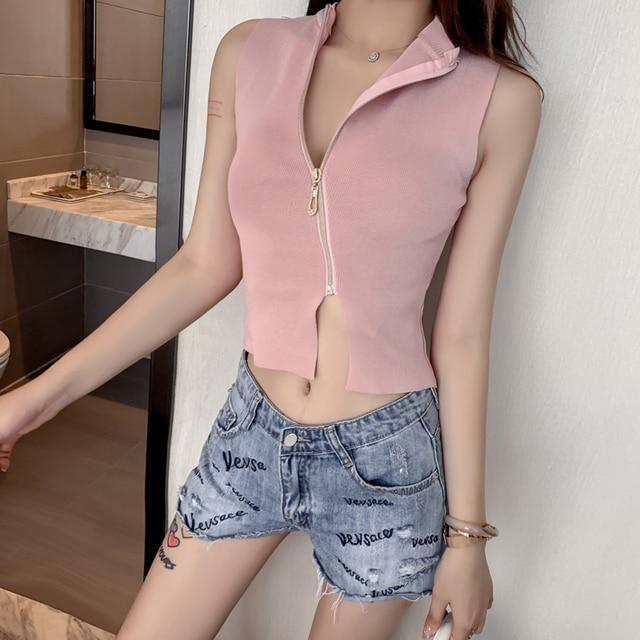WITHZZ Spring Sexy Vest Slim Zip Short Sleeveless Knit Tops 2