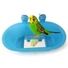 Bird Bathing Pots Small Parrot Tub Toy with Mirror for Tiger Skin Peony Can Fixed Cage Decor