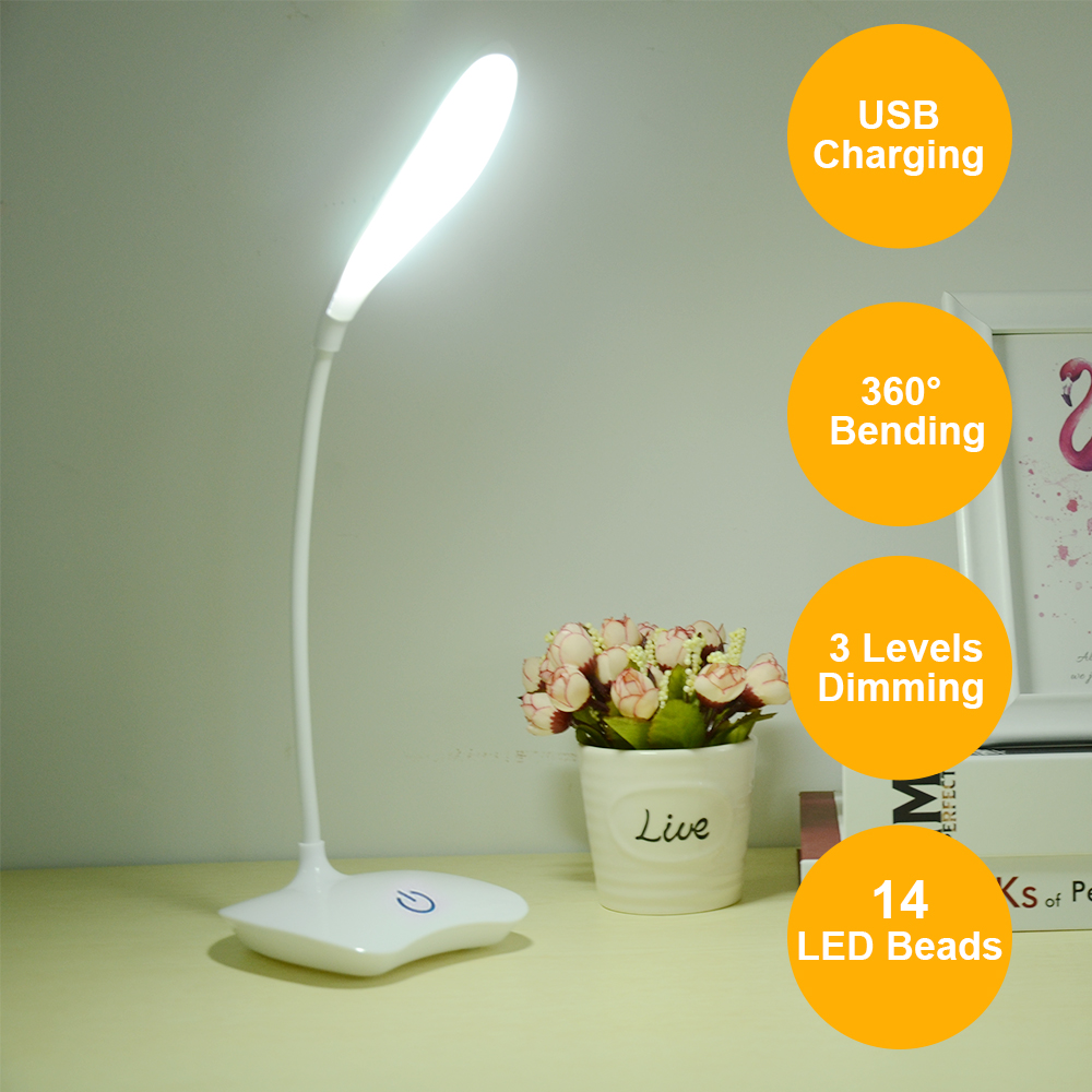 Table Lamp LED Stand Desk Lamp Battery Powered Rechargeable 3 Levels Brightnes
