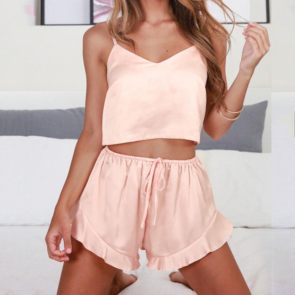 Women Pajama Sets Sleeveless Strap Nightwear Sleepwear Set Top Shorts Pajama Set Top Sexy Lingerie Intimate Ladies Pijama Mujer