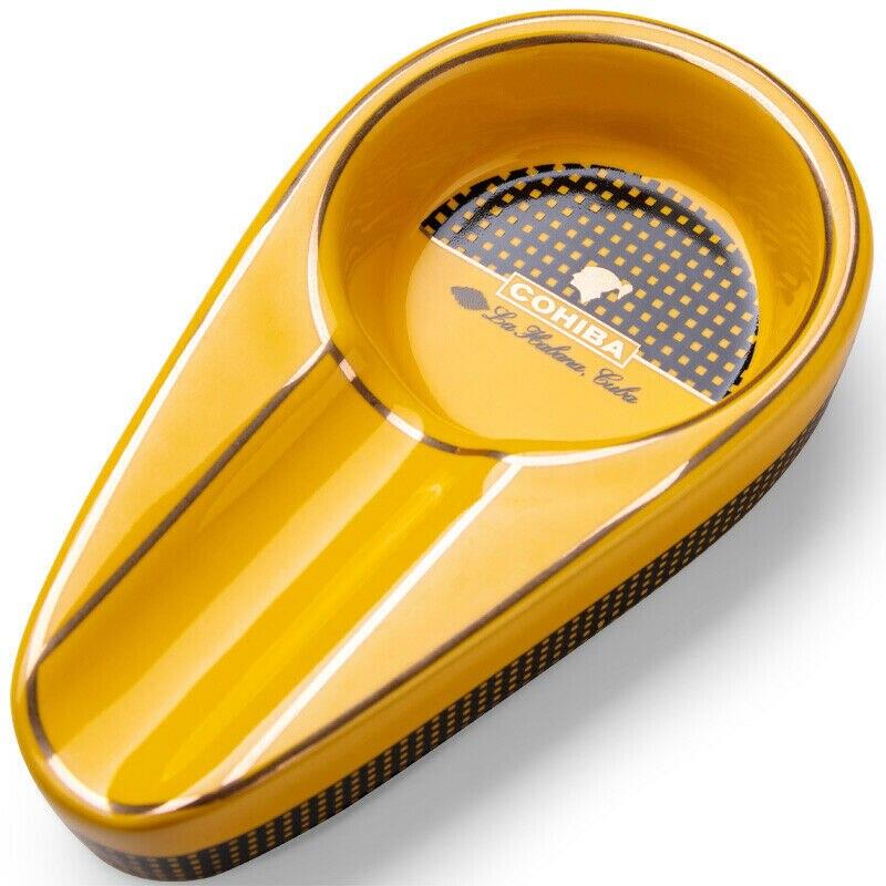 1 шт., Классическая желтая керамическая пепельница COHIBA с нескользящим карманом, подставка для сигар, одиночный держатель для сигар