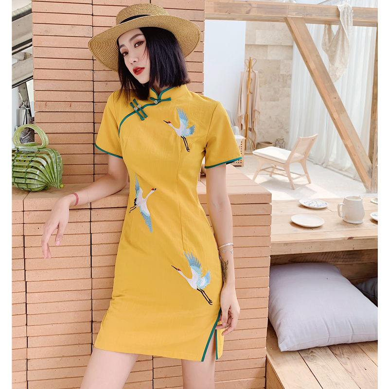 2020 Chinese Dress Satin Qipao Lady Traditional Chinese Style Cheongsam Dresses Women Mandarin Collar Silm Qipao Dress