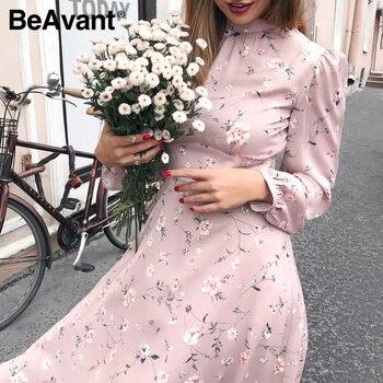 BeAvant Elegant women floral summer dress High waist print work office long sleeve lady dresses Vintage chic party dress chic halter fishtail floral print sheath dress for women