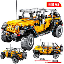 601pcs Creator Mechanical Pull Back Jeeped Off-road Vehicle Building Blocks For City Technic Car Bricks Toys For Boys недорого