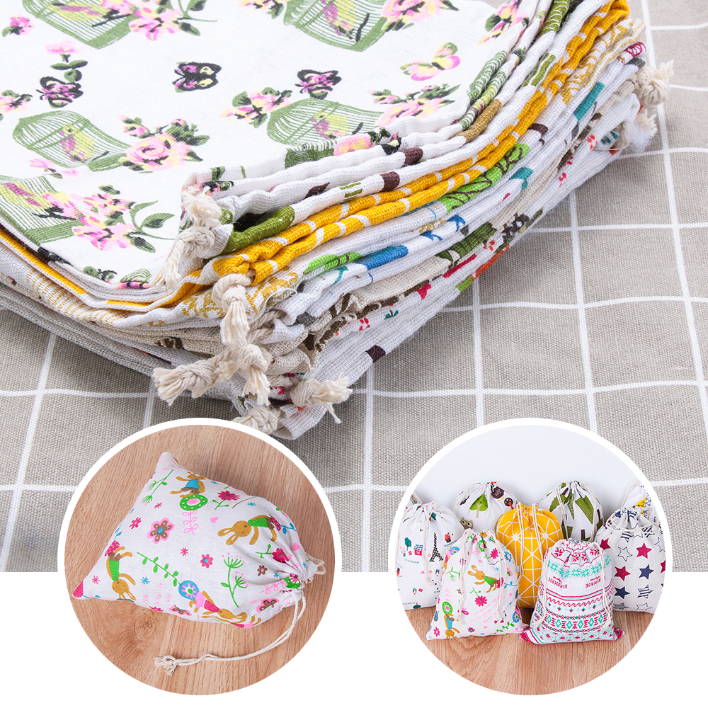 1pc Portable Canvas Drawstring Bags Cotton Linen Print Storage Sundries Bag Candy Sweet Girls Coins Keys Cosmetic Bag 12 Colors