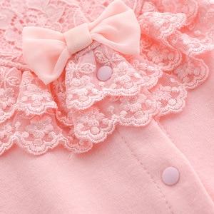 Image 5 - ملابس للأطفال حديثي الولادة من القطن مع ربطة رومبير مع طقم برنات للأطفال حقيبة نوم باللون الأبيض والوردي بشكل عام ملابس للأطفال حديثي الولادة ملابس للأطفال حديثي الولادة 3 متر 6 متر 9 متر 1t هدية
