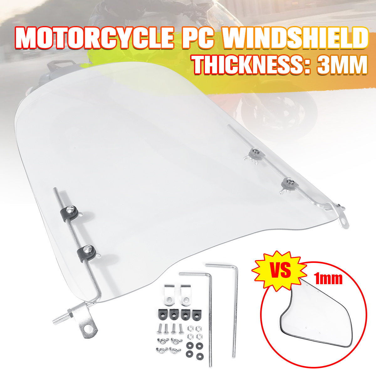 3mm Thick Clear Motocycle Windshield Windscreen Extension Spoiler Windshield Widened Edging Wind Deflector