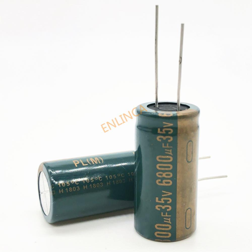 2 шт./лот 35 в 6800 мкФ 18*35 высокочастотный низкоимпедансный алюминиевый электролитический конденсатор 6800 мкФ 35 в 20%
