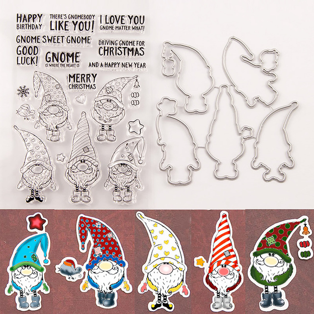 5Pcs Christmas Santa Claus outline Metal Cutting Dies Clear stamps and Die set for Scrapbooking Card Embossing craft dies