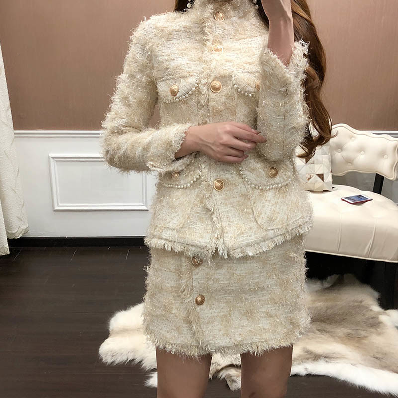 Tweed Short Skirt Women Two Piece Set 2020 Autumn Office Lady Outfits Female Jacket Skirt Set With Tassel High Quality Fashion